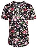 COOFANDY Men's Short Sleeve Rose T Shirt Hipster Hip Hop Floral Printed Street Cotton Tee Shirts(Black,M)