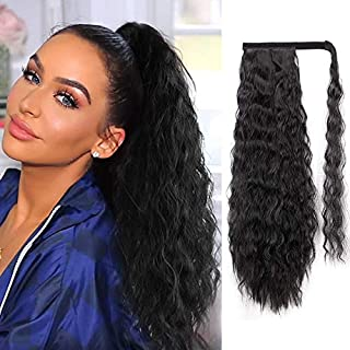 Long Ponytail Extensions for Women Synthetic Wrap Around Wavy Ponytail Black 21 Inch Curly Ponytails Magic Paste Heat Resistant Wavy Hairpieces