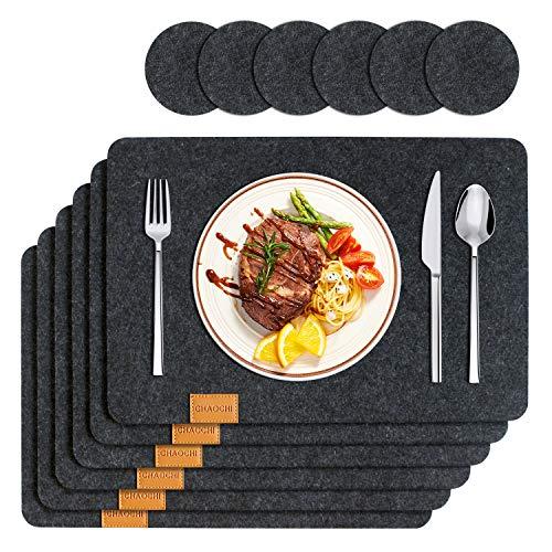 CHAOCHI Filz Tischset mit Untersetzer - Platzset abwischbar - Pflegeleicht und Hitzebeständig rutschfest Platzdeckchen,Grau