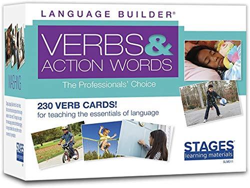 Stages Learning Language Builder Verbi e Parole d'azione Flash Cards per Aba e Autismo Vocabolario Flashcard, Multi