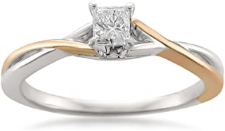 14k Two-Tone Rose & White Gold with Rhodium Princess-cut Diamond Engagement Ring (1/4 cttw, I-J,...
