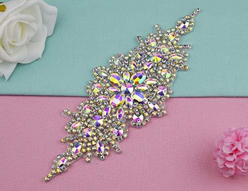 Astonish 1 Stück Handgemachte AB Glass AB Kristallstrassapplikationen Eisen-Auf NäHen Handwerk für Brautkleider Braut Sash Gürtel