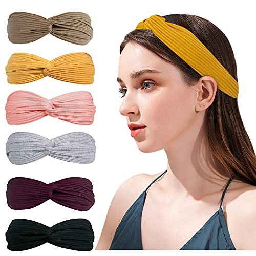Loritta 6 Pack Knotted Headbands for Women Cute Fashion Elastic Headband Yoga Workout Turban Hair Bands Accessories Gifts, Multi-colored