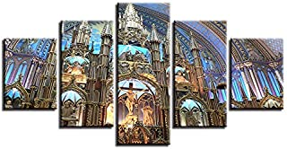 HOPE003 Canvas Painting 5 Piece Wall Art Decoration Living Room Modern Prints 5 Pieces Montreal Notre Dame Basilica Landscape Pictures Modular Paintings Canvas Wall Art Framed