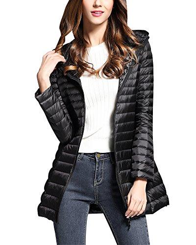 Doudoune à Capuche Femme Ultra Légère Longues Manteau Chaud Blouson Compressible Veste Duvet Noir L