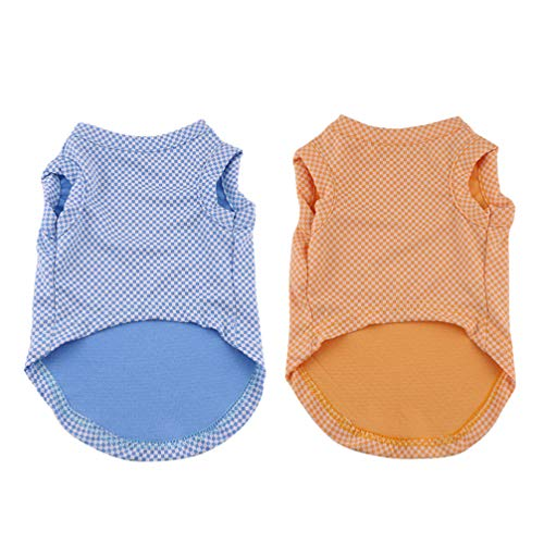 UKCOCO 2 Pcs Camisas para Animais de Estimação Cachorro Filhote de Cachorro Xadrez Verão Roupas Colete Roupas Respirável Vestuário Traje Tamanho Xs (Azul Amarelo)