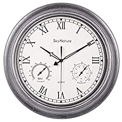 Large Outdoor Clock, Waterproof Outside Clock with Thermometer & Hygrometer Combo, Silent Battery Operated Metal Clock for Living Room, Bathroom, Garden, Patio & Pool Decor - 18 Inch, Brush Silver