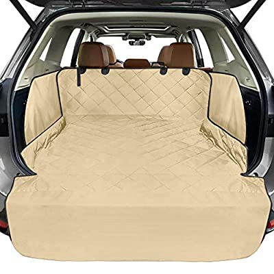 FunniPets Cargo Liner for SUV, Waterproof Dog Cargo Cover with Side Walls Protector and Bumper Flap, Non-Slip Backing, Quilted Pet Seat Cover, Large Size Universal Fit, Khaki