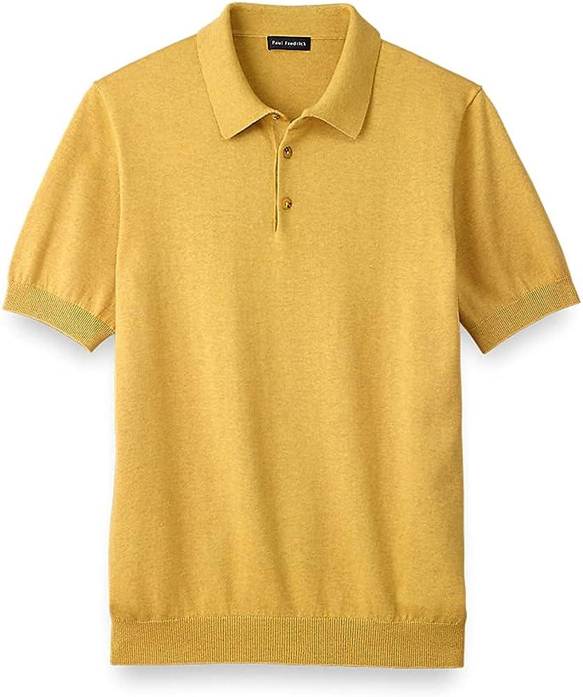 Men's Vintage Clothing | Retro Clothing for Men Paul Fredrick Mens Silk Cotton and Cashmere Three Button Polo  AT vintagedancer.com