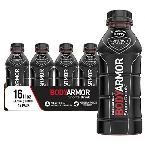 BODYARMOR Sports Drink Sports Beverage, Blackout Berry, Natural Flavors With Vitamins, Potassium-Packed Electrolytes, No Preservatives, Perfect For Athletes, 16 Fl Oz (Pack of 12)