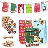 24 Bolsas De Papel De Navidad Kraft Gift Treat Bag con Navidad Countdown Adviento Pegatinas Cordón De Yute Etiqueta De Regalo Pegatinas Papel Snack Goody Candy Bolsas De Bricolaje Set