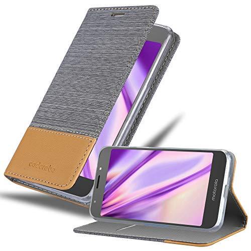 Cadorabo Hülle für Motorola Moto E5 in HELL GRAU BRAUN – Handyhülle mit Magnetverschluss, Standfunktion & Kartenfach – Hülle Cover Schutzhülle Etui Tasche Book Klapp Style