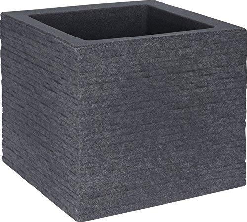 Spetebo Kunststoff Blumentopf grau 27x27cm - Pflanztopf in Stein Optik - Blumenkübel Pflanzkübel eckig