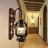 BYX Lámpara de pared vintage Pantalla de vidrio industrial Lámpara de linterna E27 retro de madera...