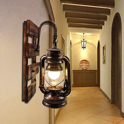 BYX Lámpara de pared vintage Pantalla de vidrio industrial Lámpara de linterna E27 retro de madera Lámpara de pared de queroseno interior Accesorio para pasillo de cabecera interior