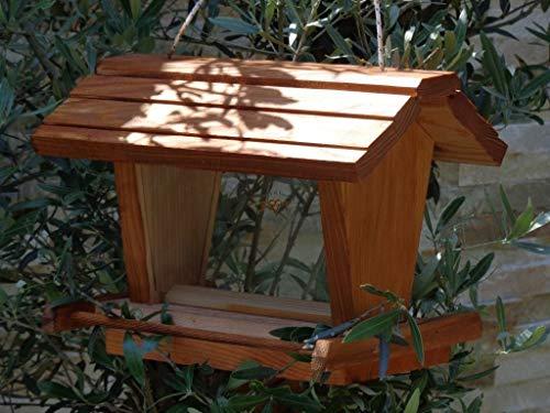 vogelhaus mit ständer BTVK-VOFU2G-MS-dbraun002 Großes PREMIUM-Qualität,Vogelhaus,mit ständer + 3D-Riesensilo / Futterschacht Futterautomat MASSIV + WETTERFEST, QUALITÄTS-SCHREINERARBEIT-aus 100% Vollholz, Holz Futterhaus für Vögel, MIT FUTTERSCHACHT Futtervorrat, Vogelfutter-Station Farbe braun dunkelbraun schokobraun rustikal klassisch, Ausführung Naturholz, mit KLARSICHT-Scheibe zur Füllstandkontrolle - 3