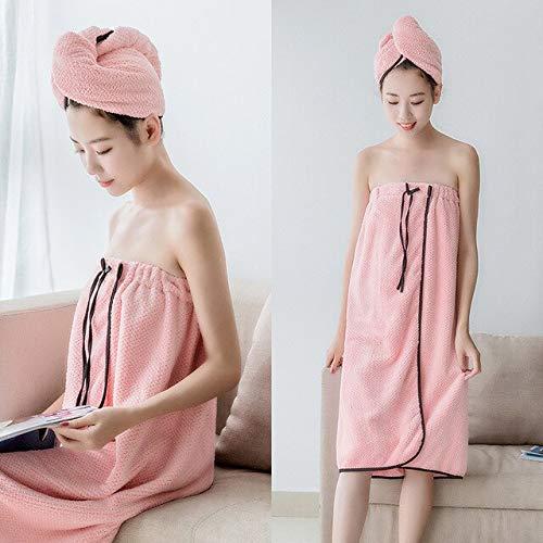 Xiaobing 2 unids/Set Toalla de baño con Honda para Mujer de Secado rápido Lindo Bowknot Viaje Diadema para el Cabello seco-B Pink-Set