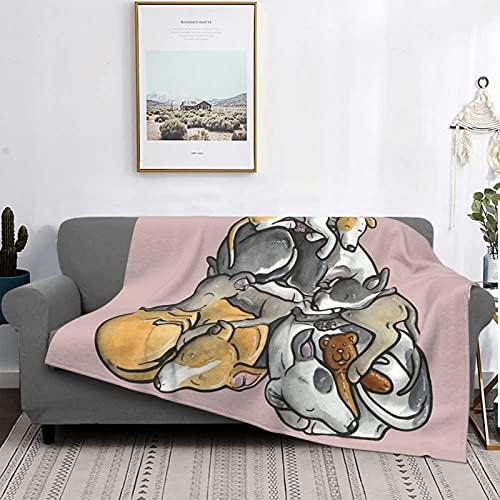 Plüsch-Sofa-Decke, Schlafflor von Whippets, ultraweiche Micro-Fleece-Decke, schwarz, 203 x 152 cm, luxuriöse Decke für Bettwäsche, Sofa und Reise, Klimaanlage, Steppdecke
