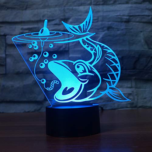 LBJZD 3D Night Light Novelty 3D Fishing Fish Led Night Light 3D Touch Baby Sleeping Lighting USB Table Lamp Bedside Night Light for Child Gift White Base with Remote Control