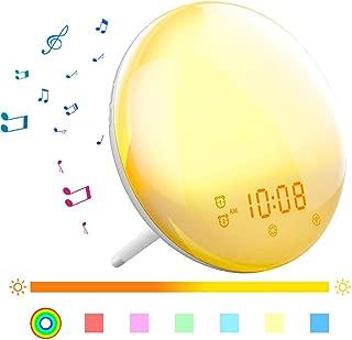 Wake Up Light, AUSPICE Wake Up Sunrise Alarm Clock Wake up Light Sleep Aid Digital Alarm Clock with Sunset Simulation and FM Radio, 4 Alarms /7 Alarm Sounds/Snooze/20 Brightness (Standard)