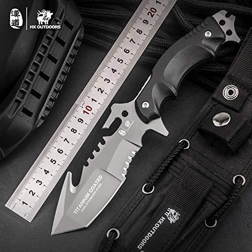 HX OUTDOORS Extra scharfes Überlebensmesser,Companion Messer,Survival Messer,Outdoor Messer,Jagdmesser mit Klinge aus rostfreiem Stahl und ergonomischem rutschfestem Griff (D-173)
