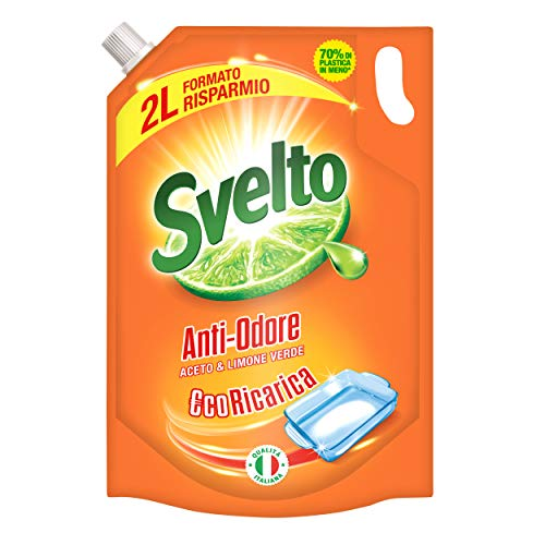 Svelto Piatti a Mano Anti Odore Aceto e Limone Verde, €co Ricarica, 2 L, Formato Risparmio