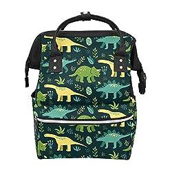 5. YYYMMM Hand Drawn Cute Dinosaur Diaper Bag