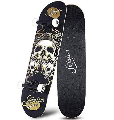 Sefulim Skull Skateboard Complete 31X8 Inches Double Kick Trick Skateboards Cruiser Penny Beginners Longboard With Maple Deck Adult Boys Also Girls Skateboard …