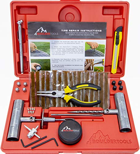 Boulder Tools - Heavy Duty Tire Repair Kit for Car, Truck, RV, Jeep, ATV, Motorcycle, Tractor,...