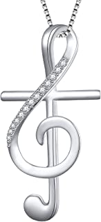 S925 Sterling Silver Musical Note Pendant Necklace, Box Chain 18 inches