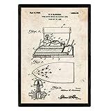 Nacnic Poster con patente de Plancha con vapor electrica. Lámina con diseño de patente antigua en tamaño A3 y con fondo vintage
