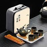 JY&WIN Teiera Set da tè da Viaggio Portatile Una pentola Quattro Tazze Collezione Regalo di tè Kung Fu-Tipo C.