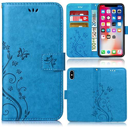 numerva Funda compatible con iPhone XS Max, funda con tarjetero de flores, color azul