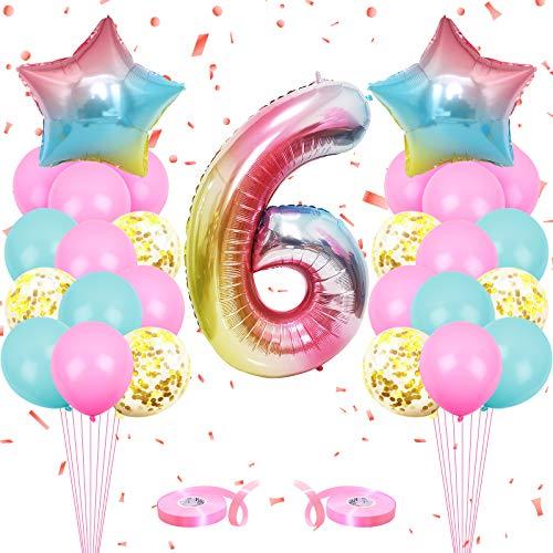 onehous Luftballon 6. Geburtstag Rosa, Geburtstagsdeko 6 Jahr Mädchen, Ballon 6 Geburtstag, Riesen Folienballon 6 Rosa, Zahlenballon 6 Deko zum Geburtstag