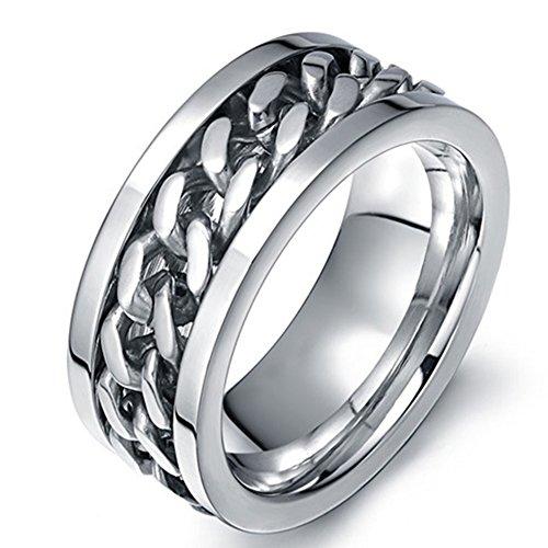 Para hombre boda bandas Classic 8mm titanio acero promesa anillos para él alta Polaco ajuste cómodo tamaño 6–15