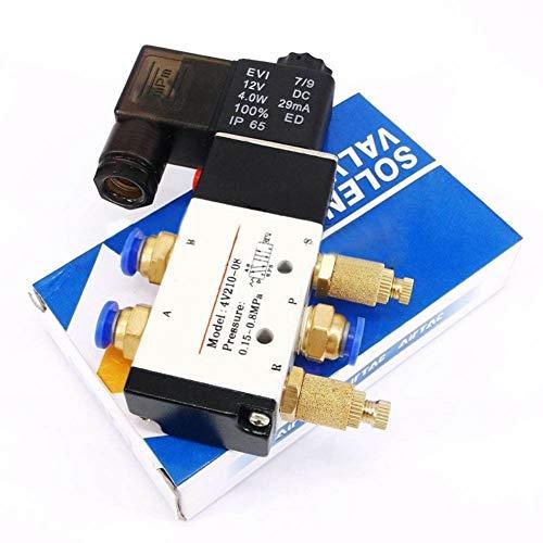 Bebliss 4V210-08 DC 12V elettrovalvola pneumatica elettrovalvola 5 porte 2 posizioni e connettore silenziatore, 11,8 * 6,6 * 2,1 cm / 4,6 * 2,6 * 0,8 pollici (L * W * H)
