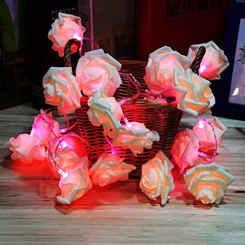 S-TROUBLE Fairy Wedding Party Decorazione Natalizia Ghirlanda 20 LED Rose Flower String Light