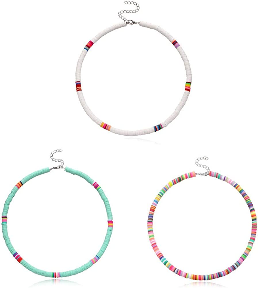 QIMOSHI 3Pcs Heishi Surfer Choker Lightweight Necklace Boho Jewelry Colorful Beads Necklaces for Women Girls Handmade Summer Beach Collar Necklace for Holidays