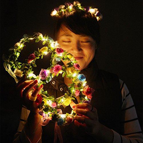 COSOON Led Blumenkranz, 4 Stück Garland Stirnband Dekorative Leucht Böhmen Blume Stirnband Kopfbedeckung Floral Crown Haarschmuck Festival Damen Blumendekor Blumenkrone Kopfstück für Hochzeit Party