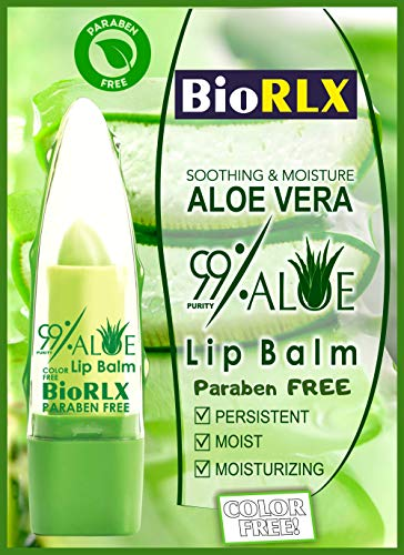 Biorlx 99% Purity Aloe Vera Color Free and Paraben Free Soothing Lip Balm Naturally Moisturize and Heal Damaging Wind, Harsh Sun, Weather Changes. It Repairs Dry, Cracked and Chapped Lips.
