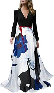 Women's Vintage Patchwork Printed Long Sleeve Ladies V-Neck Long Dress