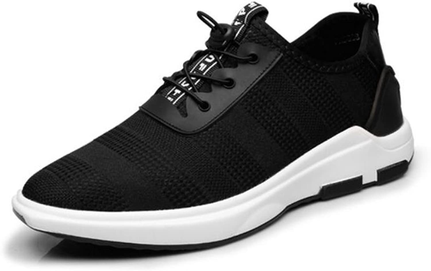 Men's shoes Knit Sneakers Fall Winter Comfort Athletic shoes Tennis shoes Mens Low-top Lace-up Running shoes Riding shoes (color   Black, Size   42)
