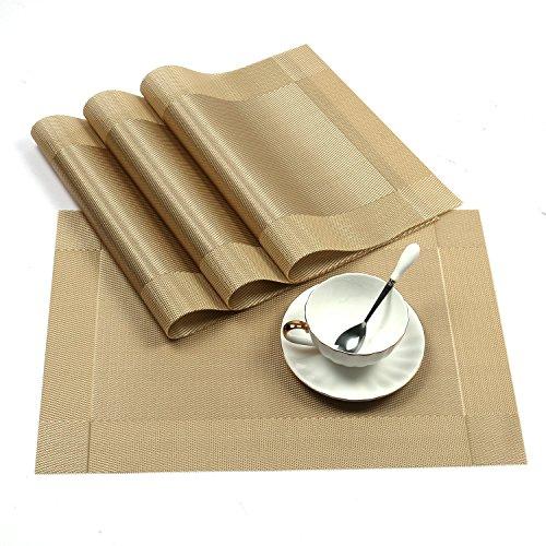 """AAndrea Manteles Individuales, Conjunto de 8 manteles de Resistente al Calor, Antideslizante Lavable PVC Redondo manteles Individuales Tejido de Vinilo manteles Individuales, 12x 18"""""""