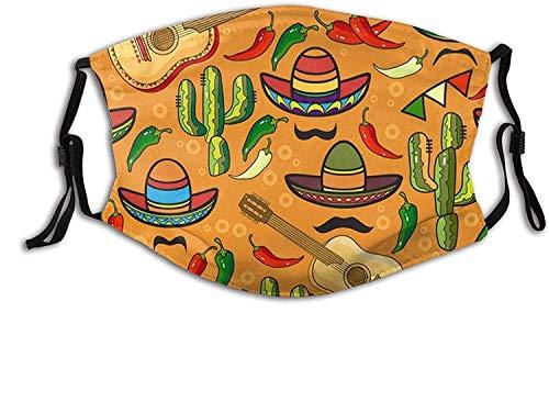 KASHINO Mascarilla facial con bolsillo de filtro, sombrero mexicano, maracas, taco y chile, lavable, reutilizable, pasamontañas con 2 filtros, fabricado en Estados Unidos