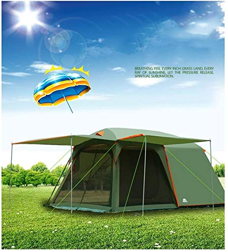SAIYI Large outdoor tent 4-6 people anti-storm camping tent camping rain tent anti-UV double-layer tent,Suitable forPicnic, hiking, fishing, adventure, 4.2M*2.7M*2M