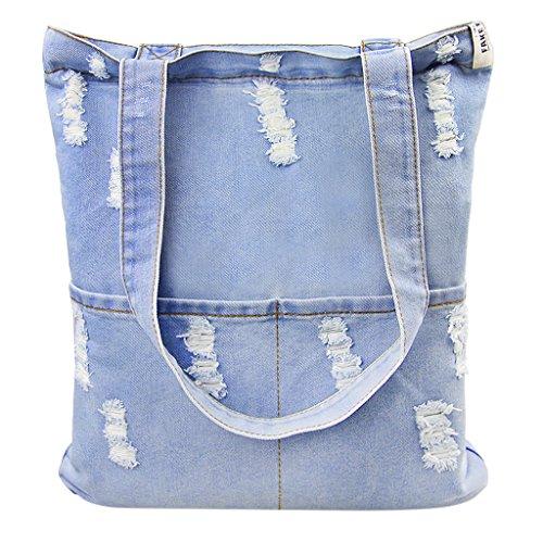 MOON Damen Denim Jeans Tasche Umhängetasche Messenger Bag Handtasche Schultertasche Tragetasche koreanisch Löcher Stil für Freizeit Einkaufen Studium