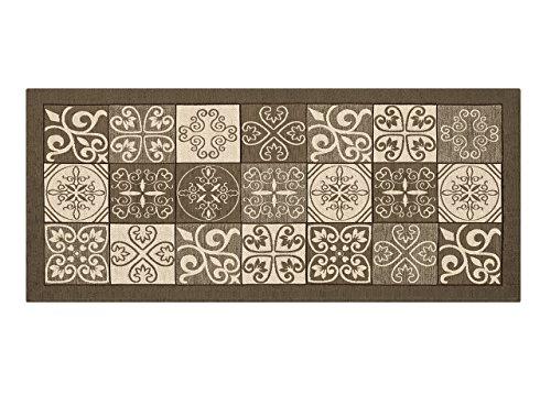BIANCHERIAWEB Alfombra de Cocina Antideslizante Lavable, Alfombra de Cocina de 55 x 240 cm, Fabricada en Italia, con diseño de Maiólica, Color marrón, Lavable y Planchado