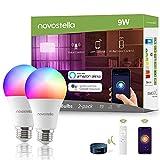 NOVOSTELLA Ampoule Wifi Intelligente 9W 900lm Compatible avec Alexa, Google Home avec IR Télécommande, Ampoule LED Connectée E27 RGBCW Blanc 2700K- 6000K Dimmable, 2 Pack (Voice/App/Remote control)