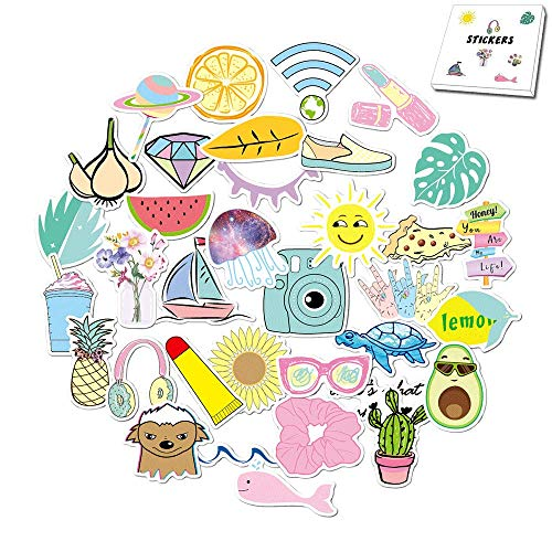 Vsco Girls Stickers for Water Bottles 35-Pack Cute Aesthetic Trendy Waterproof Vinyl Stickers for Teens Kids Girls and Boys, Perfect for Laptop Phone Travel Guitar Bike Helmet Car(Multi Colorful)
