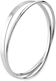 Merdia 925 Solid Sterling Silver Polished and Rough Twisted Bangle Bracelet for Women 6.7CM